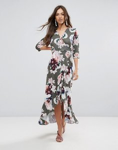 Read more about Qed london wrap floral maxi dress with ruffle - green floral print