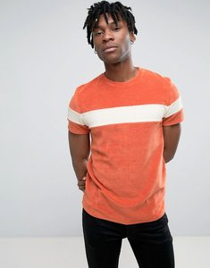 Read more about Asos t-shirt in towelling fabric with contrast panel in orange - orange