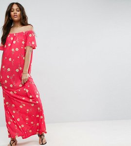 Read more about Asos tall off shoulder maxi dress in floral print - floral
