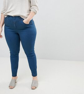 Read more about Asos curve ridley high waist skinny jeans with gia styling in freddie dark blue wash - mid wash blue