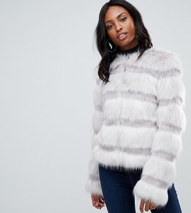 Read more about Asos design tall textured faux fur coat - grey