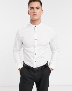 Read more about Asos slim shirt in white with grandad collar and contrast buttons - white