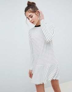 Read more about Asos design mini rib dropped smock dress in stripe - mono stripe