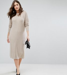 Read more about Asos curve eco knitted dress in super soft yarn - putty