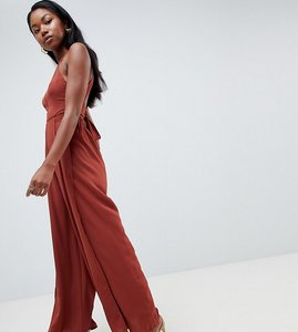 Read more about Parallel lines wide leg split jumpsuit with tie back and ladder insert - cinnamon