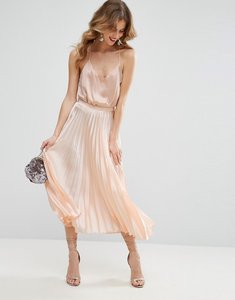 Read more about Asos midi skirt in pleated satin - nude