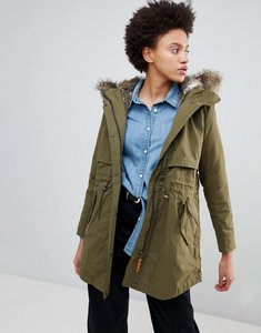 Read more about Parka london lara essential parka coat with faux fur trim hood - military green