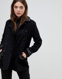 Read more about Brave soul double breasted coat with collar - charcoal grey black