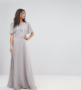 Read more about Asos tall embellished bodice flutter sleeve maxi dress - grey