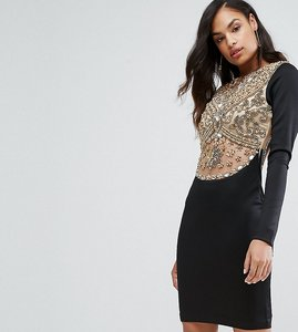 Read more about A star is born heavy embellished knee length dress with long sleeves - black