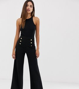 Read more about Boohoo button detail wide leg trouser in black