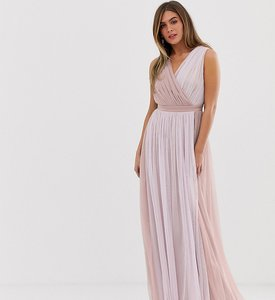 Read more about Anaya with love contrast tulle wrap front maxi dress with satin trim in tonal