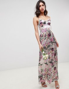Read more about Asos design cami maxi dress with lace insert in pretty floral print - floral