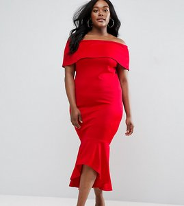 Read more about Club l plus bardot dress with peplum hem - red