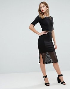 Read more about French connection floral cage lace insert midi dress - black