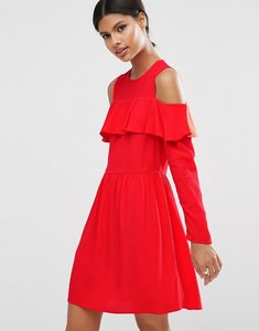 Read more about Asos mini cold shoulder dress with ruffle detail - red