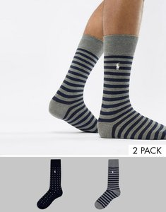 Read more about Polo ralph lauren 2 pack socks stripe polkadot player logo in grey navy - grey navy multi