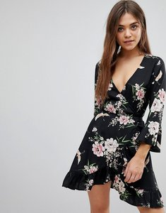 Read more about Influence floral and bird print ruffle detail wrap dress - black floral