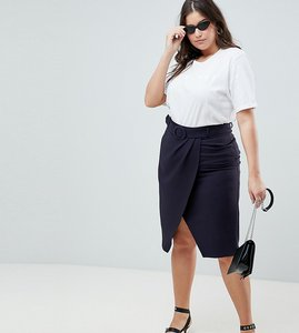 Read more about Asos design curve wrap front midaxi skirt with self belt - navy