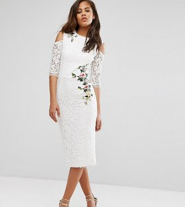 Read more about Little mistress tall cold shoulder lace pencil dress with floral embroidery - ivory