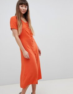 Read more about New look button front midi tea dress - orange