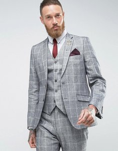 Read more about French connection slim fit linen check jacket - grey