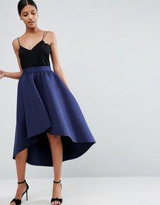 Read more about Asos premium scuba prom skirt with asymmetric hem - navy