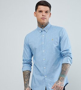 Read more about Farah steen slim fit textured oxford shirt in blue - 979 sierra blue
