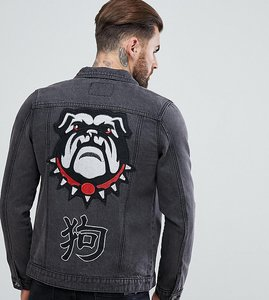 Read more about Liquor n poker year of the dog denim jacket with embroidery - black
