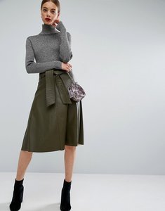 Read more about Asos skater skirt in leather look with self belt - khaki