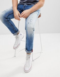 Read more about Solid distressed slim fit jeans - 9050