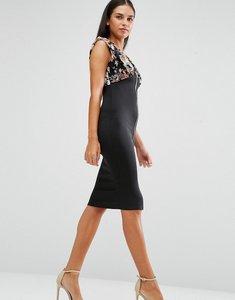 Read more about Ax paris floral top zip front dress - black