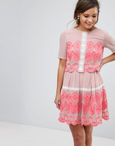Read more about Asos premium double layer mini embroidered dress - multi