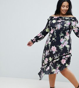 Read more about Asos design curve off shoulder tea dress with shirred cuffs in floral print - multi