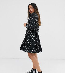 Read more about Yumi petite long sleeve shirt dress in tulip print