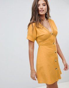 Read more about Asos design button through mini dress with lace inserts - mustard