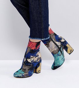 Read more about Asos elate wide fit ankle boots - jacquard
