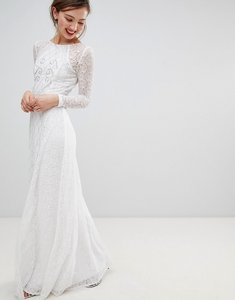 Read more about Frock frill long sleeve lace maxi dress with embellished detail - white