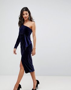 Read more about Lavish alice one shoulder midi dress with twist detail in velvet - berry