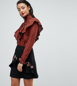 Read more about Fashion union tall check shirt with ruffle layer - rust check