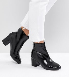 Read more about New look wide fit patent block heel ankle boot - black