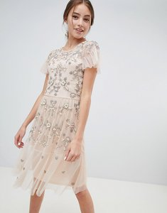 Read more about Miss selfridge midi dress with all over embellishment - nude