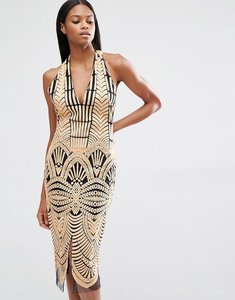 Read more about Lavish alice embroidered mesh halterneck open back midi dress - nude black