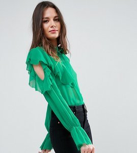 Read more about Asos tall deconstructed ruffle cold shoulder blouse with tie detail - green