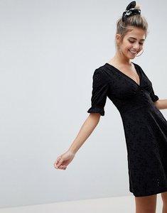Read more about Asos design broderie button through mini tea dress - black