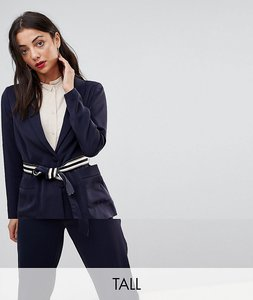 Read more about Y a s tall belt detail blazer - navy