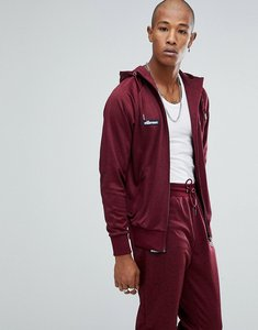 Read more about Ellesse poly tricot track zip through hoodie in burgundy - red
