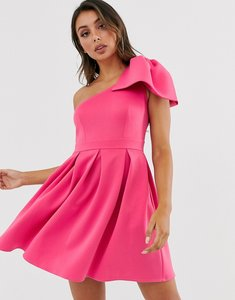 Read more about Laced in love one shoulder mini scuba dress in pink