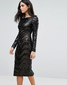 Read more about Forever unique embellished long sleeve bodycon dress - black