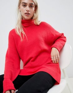 Read more about Asos design eco chunky jumper in oversize with high neck - pink